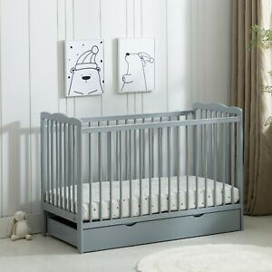 MCC®  Grey Brooklyn Baby Cot Crib with Water repellent Mattress & Wheeled Drawer