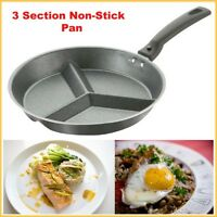 3 Section Pan Frying Multi Cook Kitchen Non Stick Grill Breakfast Detachable Pan