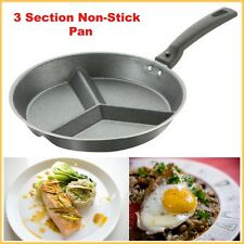 3 Section Frying Pan Non Stick Pendeford Mini Meals Cooking Grey Detachable Hand