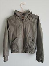 Brave soul Bomber jacket Faux Leather Hood Pockets Age11/12 146/152cm