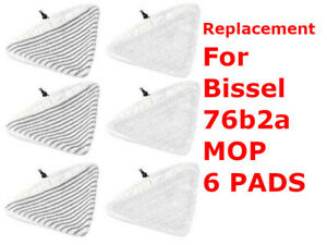 BISSELL Steam Mop Select Replacement Pads, 6 pk, 76B2A Fit 94E9 compatible