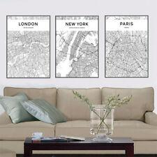 3 Piece Canvas Prints - Black and White London, New York, Paris Map Art Unframed