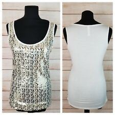 Mixage by Lady Dutch M Cream Gold Sequin Embellished Tank Top Sleeveless