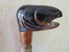 poignée de canne/parapluie -animal en bois sculpté main polychrome - truite