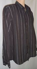 MENS NEXT SHIRT - BROWN WITH COLOURED STRIPES - SIZE LARGE