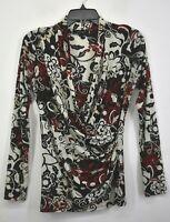 Karen Kane Womens Floral Print Surplice Neck Long Sleeve Casual Top Blouse L