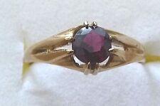 Vintage Hallmarked 9k Gold & Round Faceted Almandine Garnet Ring Size S-1/2