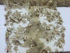 Gold Regal Flower Design Embroider And Heavy Beading On A Mesh Lace -yard