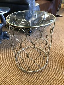 Moroccan Side Table Glass Top Drum Table - Gold Side table