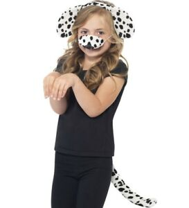 Childs Animal Dalmation Dog Fancy Dress Set Ears on Headband & Tail Kit Smiffys