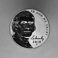 2018 S Jefferson Nickel Reverse Proof ~ Coin from Reverse Mint Proof Set