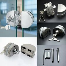 10-12mm Glass Door Lock Durable Stainless Steel Double Bolts Swing Push Sliding
