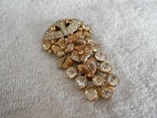1940's Vintage Rhinestone Floral Fur Clip Gold Tone Flowers