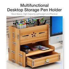 Pencil & Pen Holder Home Office Desk Supplies Organizer Desktop Wooden Storage