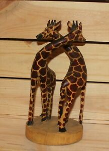 Vintage hand carving wood giraffes figurine
