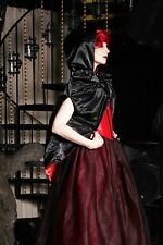 CRYPTIC CAPE-HOODED CAPE REVERSIBLE SATIN & VELVET W/POCKETS AND MUTTON SHLDRS B