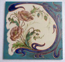° CREIL & MONTEREAU Corn Poppy Art Nouveau Tile Waterlily RELIEF handpaint