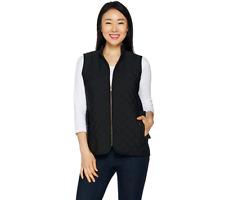 Joan Rivers Quilted Zip Front Vest Size L Black Color