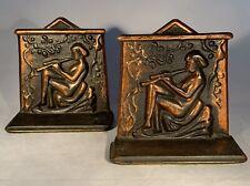 "Vintage Art Deco-""Flute Player"" Bookends-Nude Woman-Cast Iron/Copper Finish-5"""