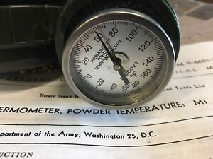 U.S. Government Issued Powder Thermometer M1 M1A1 From 1959 W/Manual & Case NOS