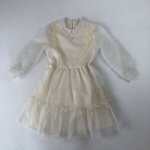 Vtg Unbranded Girls L/S Dress White Fancy Sheer Fabric Wedding Communion
