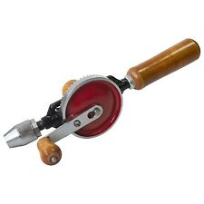 """Hand Drill Double Pinion 1/4"""" Chuck Wooden Handle Drilling Crank Amtech F0300"""