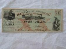 1862 STATE OF MISSISSIPPI 20.00 DOLLAR BILL CIVIL WAR CURRENCY NOTE