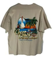 Harley-Davidson T-Shirt Shirt Mens XL Cocoa Beach Florida Made in USA Beige Tee