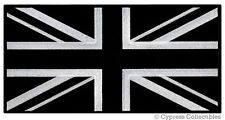 LARGE  BLACK UK FLAG PATCH embroidered iron-on UNION JACK GREAT BRITAIN ENGLAND