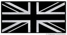 LARGE  BLACK UK FLAG PATCH embroidered iron-on UNION JACK GREAT BRITAIN ENGLAND