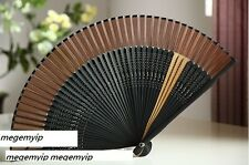 Chinese Japanese Folding Clear Brown Stripe Silk Hand Bamboo Pocket Fan Flower