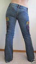 New Hart Huntington Designer Low Rise Flare Jeans Tattoo Gun Sz 27 4 Medium Wash