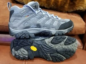 MERRELL MOAB MID WATERPROOF GREY SUEDE LEATHER HIKING BOOTS WOMENS SZ 7.5