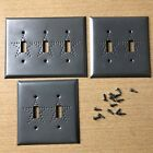 Colonial Antique Pewter Look Metal Light Switch Covers Punched Star Pattern