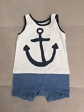 Gap Shortall Outfit 6-9 Month Blue White Nautical Cotton Boys Toddler