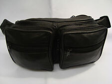 Soft Leather Bum Bag with Many Features 6 Zipped Pocket