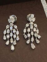 3.56 Cts F/VS1 Pear Marquise Natural Diamonds Dangle Earrings In Solid 18K Gold