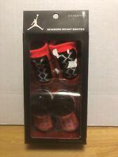 2 Pair Nike Air Jordan 0-6 Months Baby Booties Infant Newborn Bright Red Black