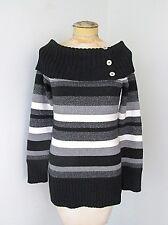 White House Black Market Striped Sparkly Silver Wide Button Bib Collar Sweater S
