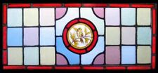 Rare Victorian Painted Golden Bird Antique English Stained Glass Window