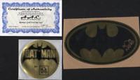 "BOB KANE DC BATMAN METALLIC GOLD FOIL SEAL ORIGINAL VINTAGE SIGNATURE + 4"" + COA"