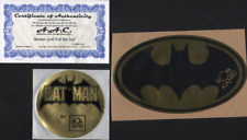 "BOB KANE HAND SIGNED BATMAN METALLIC GOLD FOIL SEAL ORIGINAL VINTAGE + 4"" + COA"