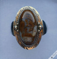 Vintage Bohemian Moss Agate 900 Silver Ring Art Deco Czechoslovakia