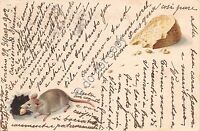 Cartolina - Postcard - Illustrata -  Topo con formaggio - 1902