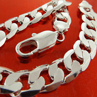 BRACELET CUFF BANGLE REAL 925 STERLING SILVER S/F SOLID CURB CUBAN MEN'S DESIGN