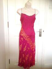 Monsoon Fuchsia Pink Gold Sari Style Silk Fishtail Cocktail Evening Dress 12