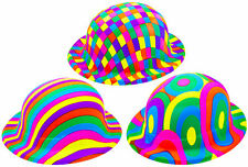 12 X Bowler Hat Plastic Jazzy 3 Assorted Designs Adult All Occasions Photo Booth
