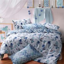 Mermaid Queen Blue Reversible Duvet Cover Quilt Bedding Set Pillowcases All Size