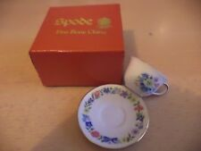 OLD VINTAGE BOXED MINI MINIATURE BONE CHINA CUP & SAUCER SPODE BLUE FLOWERS