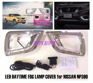 LED DAYTIME DRL FOG LAMP LIGHT TRIM COVER FOR NISSAN NAVARA NP300 D23 2015 2016